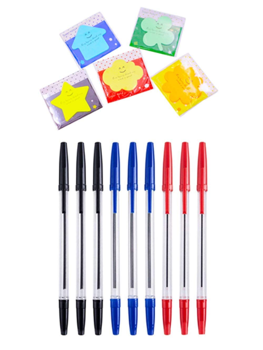 AEKAN 20 Pcs Ballpoint pens Plus 2 Pcs Sticky note, 0.7mm Contain 10 Pieces Black ink Pens,5 Pieces Red Ink Pens and 5 Pieces Blue Ink Pens for Home,Office (20 Pack)