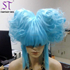 Exaggerated Halloween Wigs Blue Light Long Curly With Two Updo Hair Personality Wigs For Women