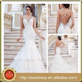 dff2f8f320ac KC24 Spaghetti Strap Beaded Bridal Gown Hollow Back Mermaid Lace Layered  Ruffle Tulle Wedding Dresses