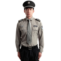 High quality long sleeve spring custom logo grey security guard uniforms
