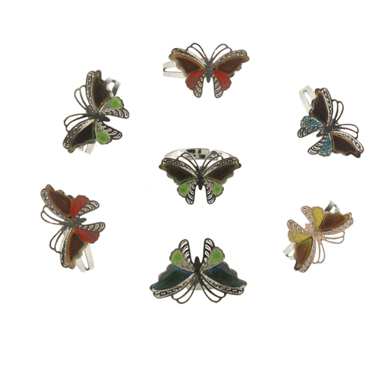 Colorful Cut-outs Butterfly Charm Full Finger Ring,12 Color Changing Mood Rings For Women