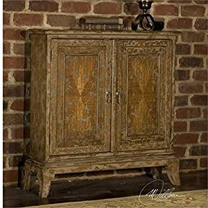 Ambient Made From Plantation-grown Mahogany Wood, Handpainted In Warm Oatmeal With Heavy Distressing Two Adjustable Shelves Chests & Cabinets