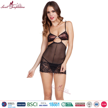 Free Lingerie Sample Sexy Night Wear For Women Erotic Babydoll Lingerie Multi Strap Mesh Baby Doll