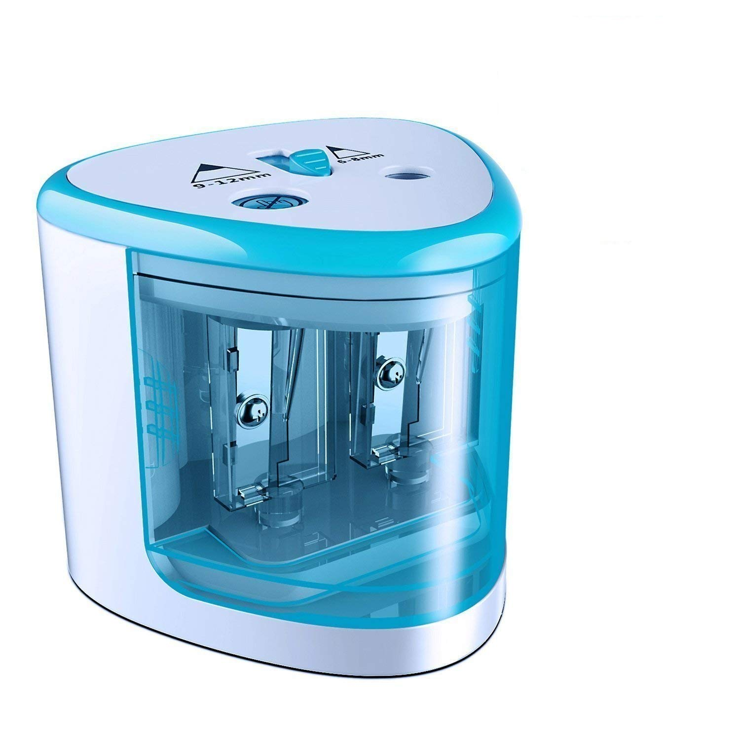 hlw Electric Pencil Sharpener,Heavy duty Blades Durable and Portable Pencil Sharpener with Automatic Sharpens All Pencils for School Kids Children,Blue Pencil Sharpener Electric