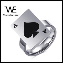 Unique China Style stainless steel A Poker ring for men's Jewelry wholesale