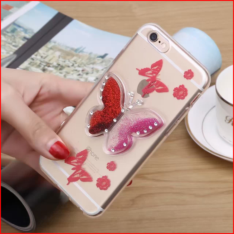 New Dynamic Liquid Quicksand Bling Glitter Butterfly Phone Case For iPhone 4/4S/5/5S/SE Clear Transparent Phone Case