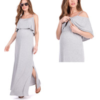 Wholesale Maternity Clothes Manufacturers Side Slits Cold Shoulder Maternity & Nursing Maxi Dresses