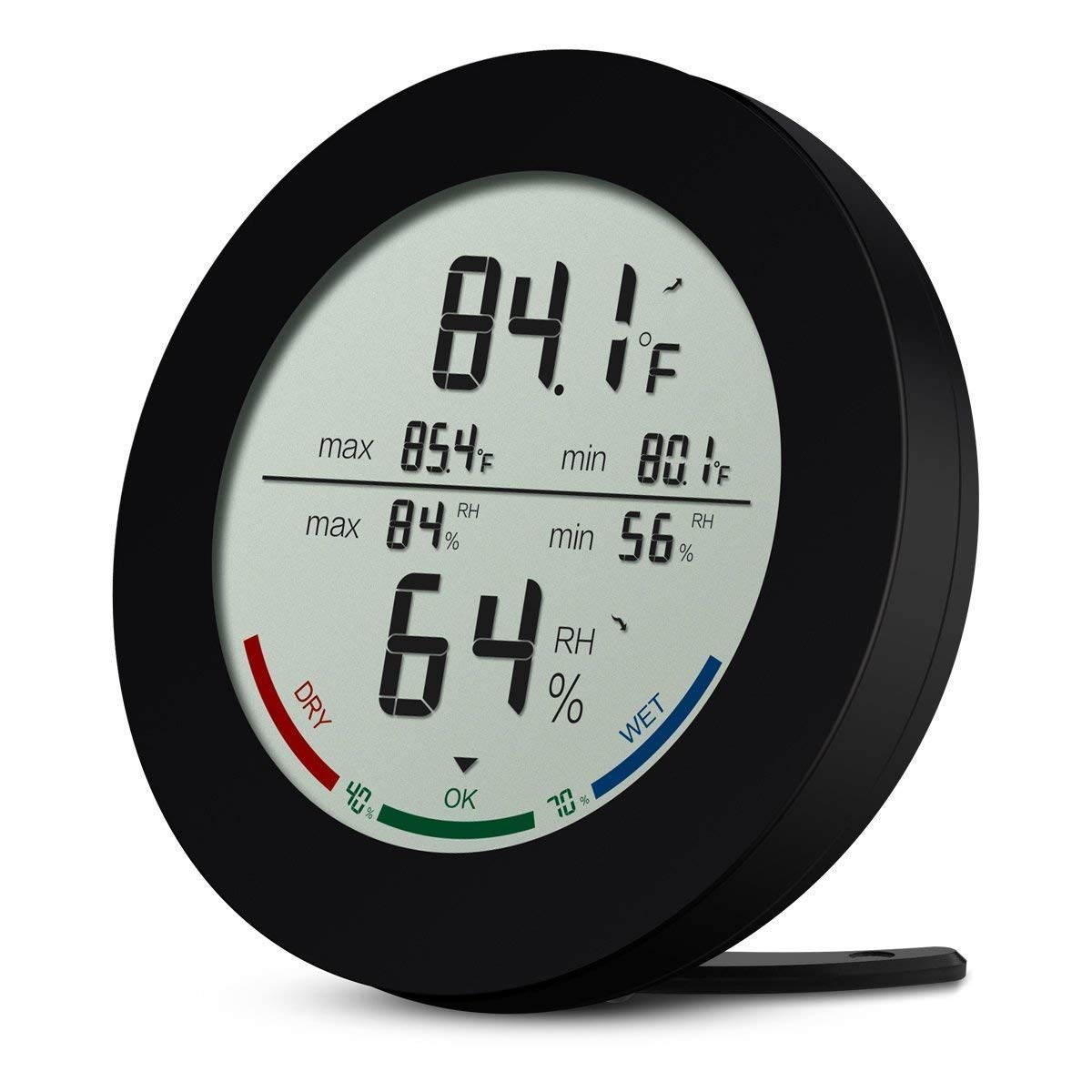 Indoor Hygrometer Thermometer, Digital Temperature and Humidity Monitor, Humidity Meter with LCD Screen, MIN/MAX Records, Trend of Temperature Change, ℃/℉ Switch, Comfort Indicators for Home