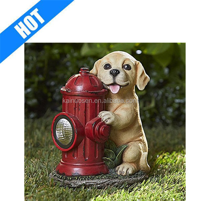 Resin Statue Dog with Fire Hydrant-Charming statue of puppy solar independent of weather conditions