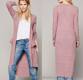 87b9d92331ad Ribbed maxi button up v-neck women cardigan with long sleeves and two front  pockets