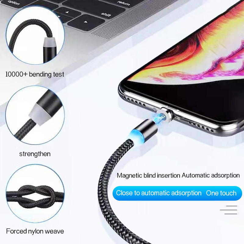 Golden Sky Colorful Data Line Newest 2019 Shenzhen Fast Charging Line Nylon 1M Mobile Phone Magnetic Suction Shenzhen Data Line
