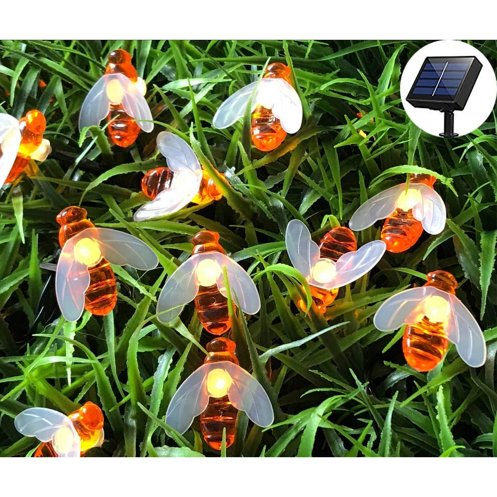 SEMILITS Solar String Lights 30LED Honey Bees Outdoor Garden Decorations Fairy Lights Warm White