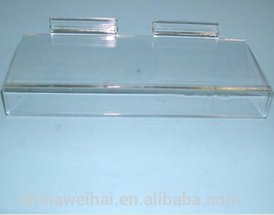 Acrylic Slatwall Shoe Display Shelf With SIgn Holder