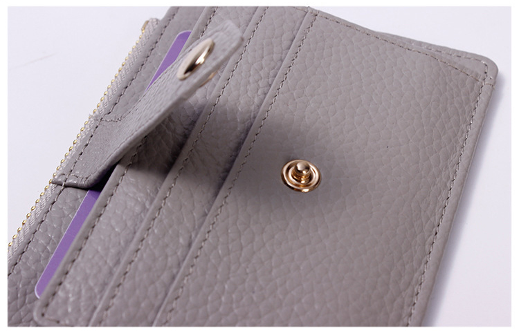 Fashion Genuine Leather Coin Purse With Zipper Credit Card Holder