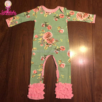 9955a2c4cd98 Latest Floral Baby Fall Rompers Kids Long Sleeve Cotton Jumpsuit ...