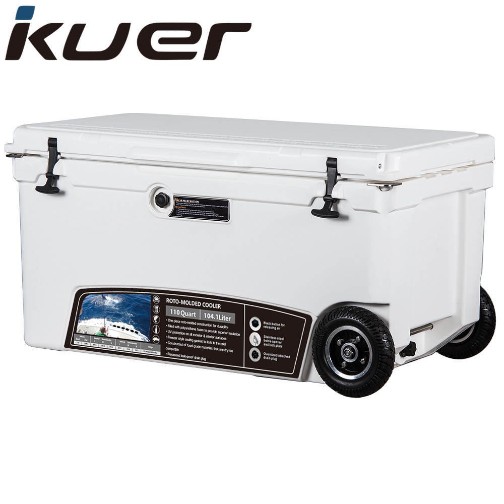 Kuer cooler factory wholesale 110qt plastic ice chest with wheels