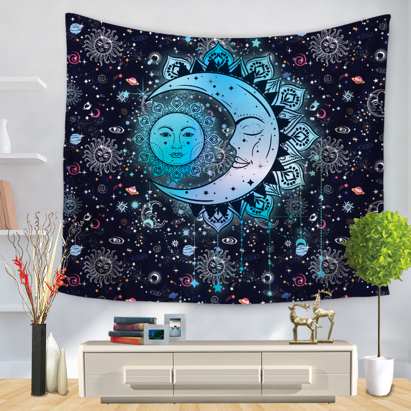 Mandala  Bohemian Psychedelic  Celestial Starry Sky Moon Star Wall Tapestry