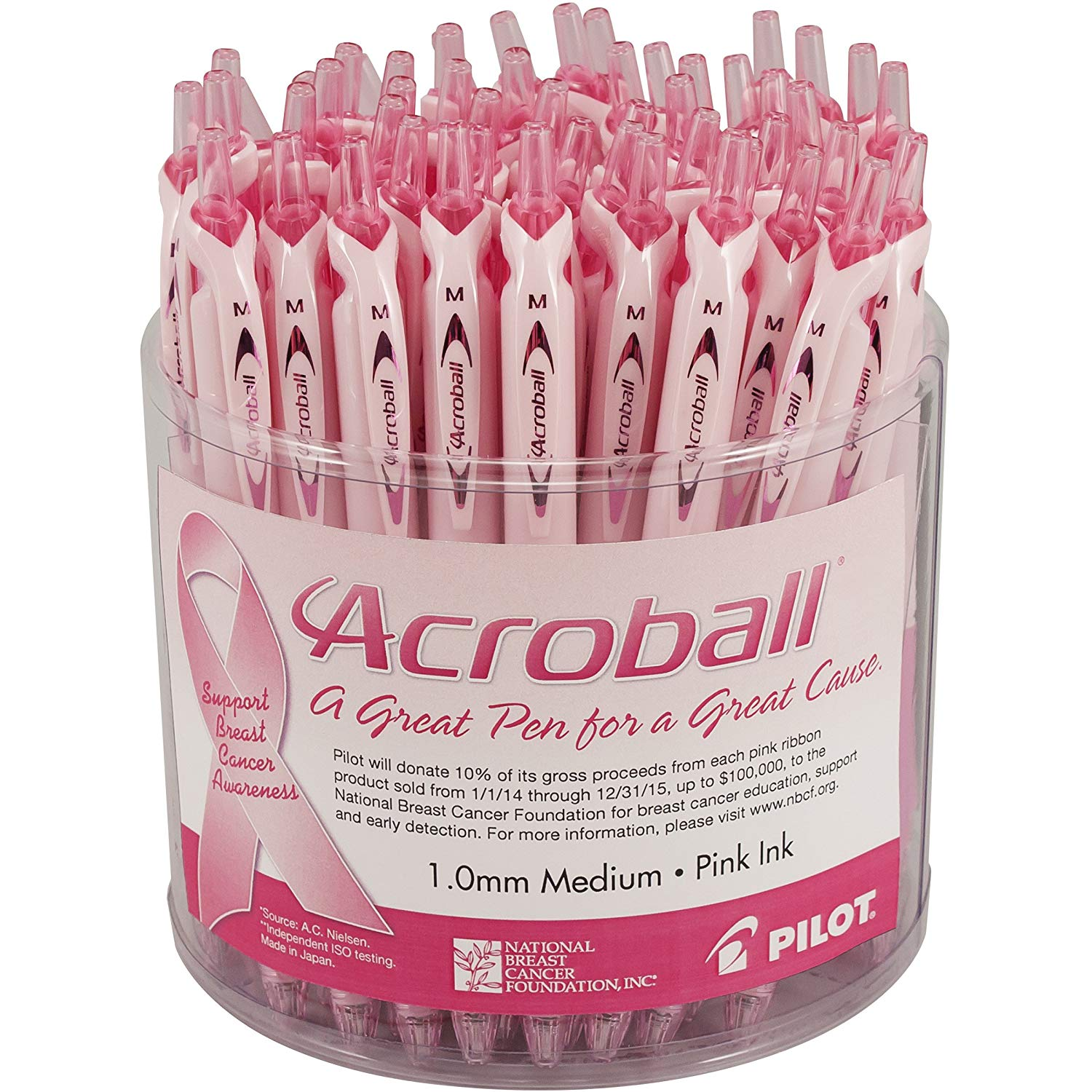 Pilot Acroball Pro Advanced Ink Ballpoint Pens Pink Ink for Breast Cancer Awareness; Medium Point, Retractable, Tub of 48 Pens (5842) Smooth Writing, Smear-Resistant Advanced Ink for Skip-Free Lines