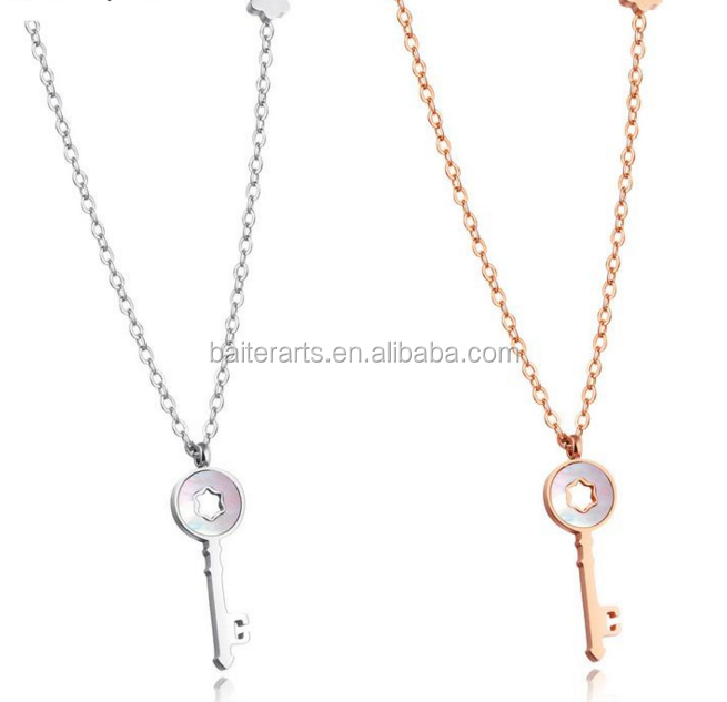 Simple Jewelry Elegant Pretty Women And Girls Stainless Steel Key Sisters Pendant Chain Necklace