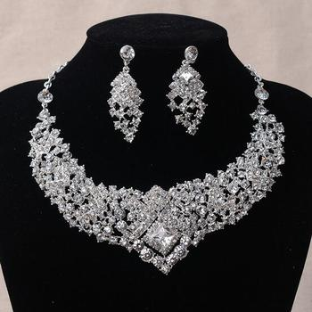 Clear Rhinestone Crystal Earrings Necklace Set Bridal Wedding Jewelry Party Gift