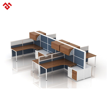 Office Cubicle Design 6 Person Workstation With Hanging Cabinet