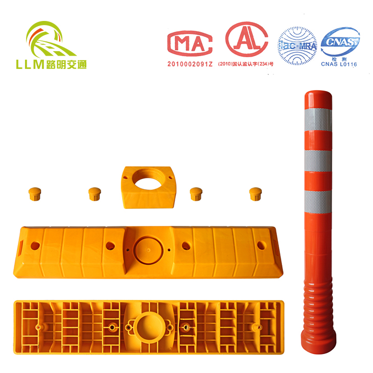 Plastic warning bollard with lane separator base/Plastic bollard