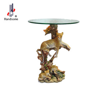 Cheap glass coffee table Resin Elk Statue Glass Decorative Coffee Table
