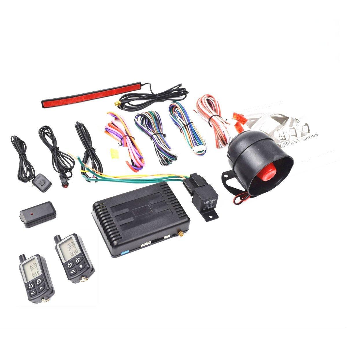 CarBest Vehicle Security Paging Car Alarm 2 Way LCD Sensor Remote Engine Start System Kit Automatic | Passive Keyless Entry(PKE) | Car Burglar Alarm System - CA-3300A