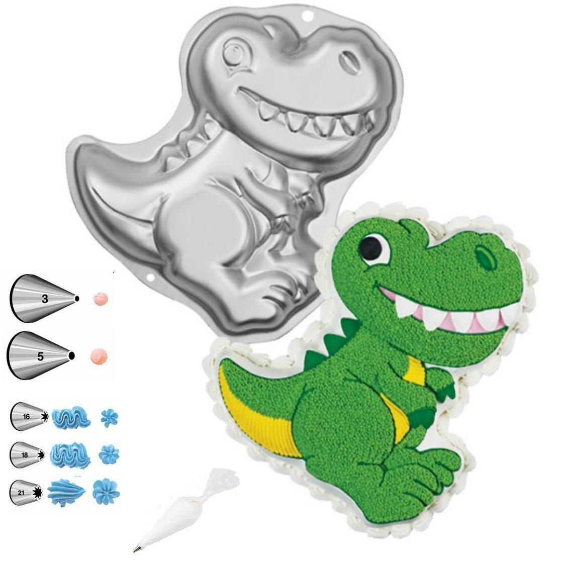 Wilton Dinosaur Shaped Cake Pan Bundle of 10 Items: Dinosaur Cake Pan, Decorating Tips and Decorating Bags