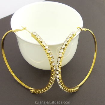 65mm Huge Piercing Crystal Earring Clips Korea Style Real Gold Plated Hoop