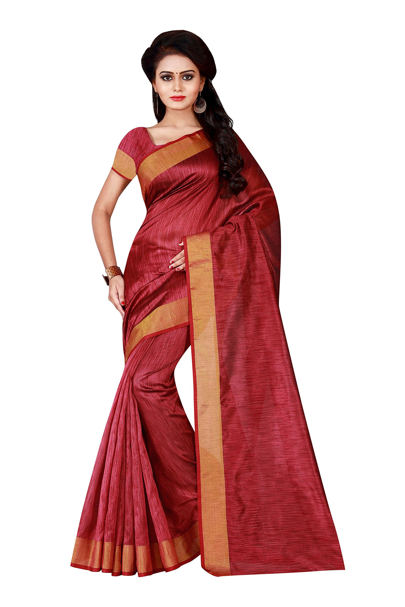 3ec16c2533191 Get Quotations · Shonaya Indian Women`S Party Wear Cotton Silk Saree With  Unstitched Blouse Piece (Red