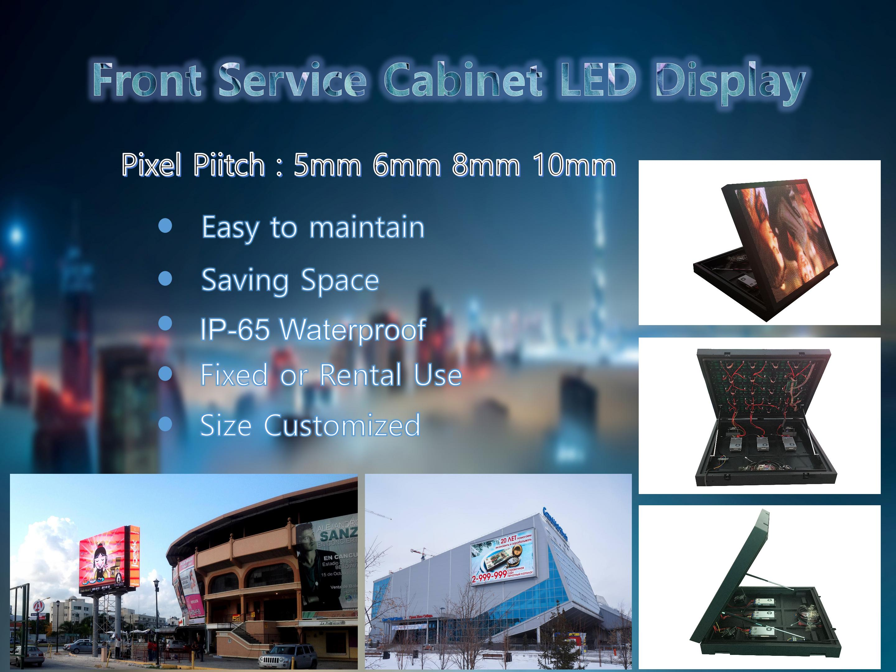 IP65 Waterproof  front service open cabinet P5 P6 P8 P10 outdoor full color LED screen display for advertising