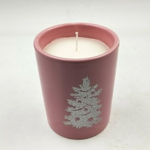 Christmas Coloured Ceramic Frosted Candle Jar Supplier