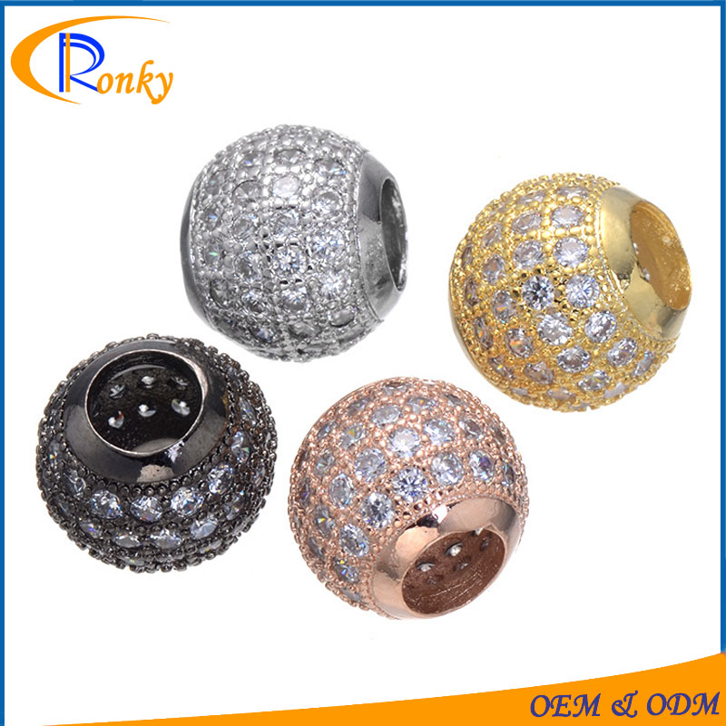 Charm alibaba round cz pave beads accessory bracelets jewelry findings & components