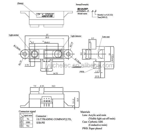 GP2Y0A21YK0F 2Y0A21 IR Analog Distance Sensor free Cable Compatible Accessories