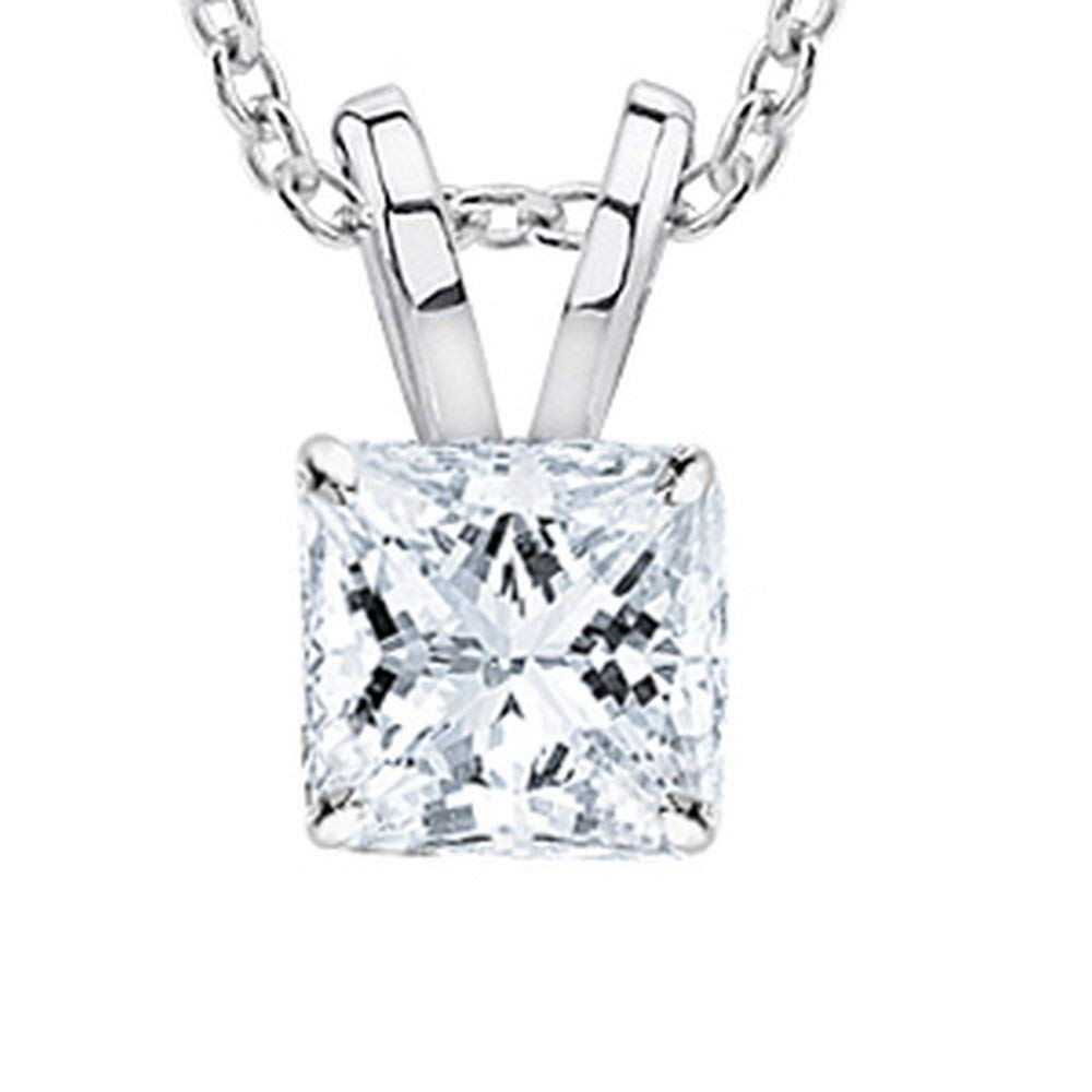 3/4 Carat GIA Certified Solitaire Princess Cut Diamond Pendant (0.75 Ct D-E Color, VS1-VS2 Clarity) w/ Gold Chain