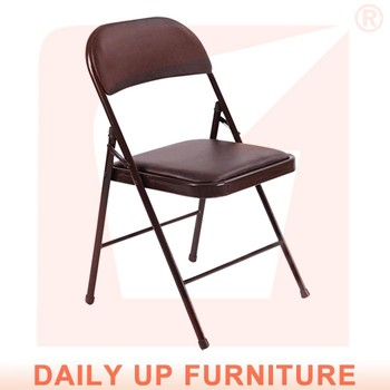 Black Pu Padded Folding Chair Leisure Metal Foldable Lobby Reception With Cushion Home Office