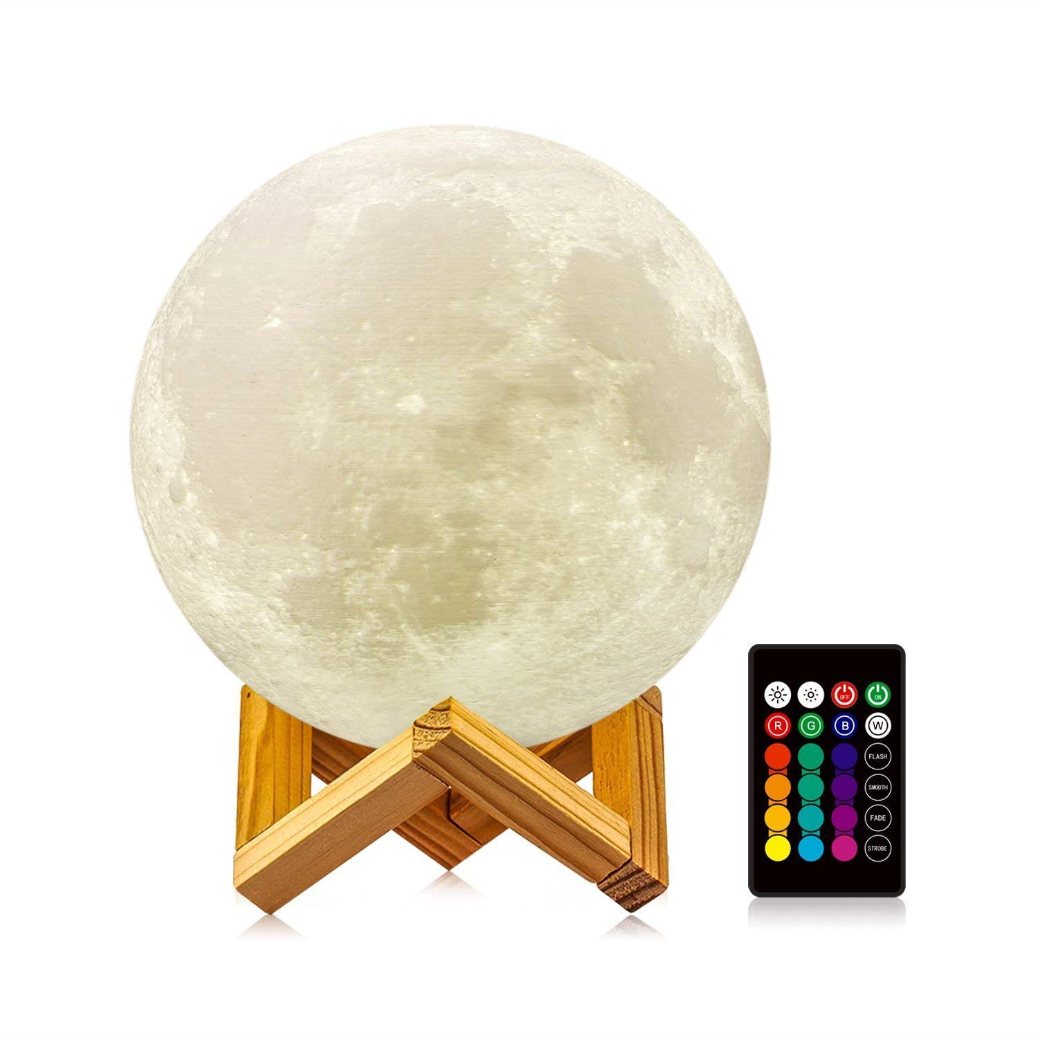 ASSBABY Moon Lamp with Stand(Diameter 5.9 INCH), 16 Colors 3D Print Moon Light with Remote & Touch Control and USB Recharge, Home Decorative Night Light for Creative Gift -Best Gifts