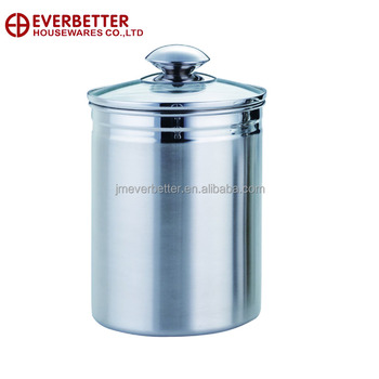 Stainless Steel Airtight Canister With Glass Lid Buy Stainless