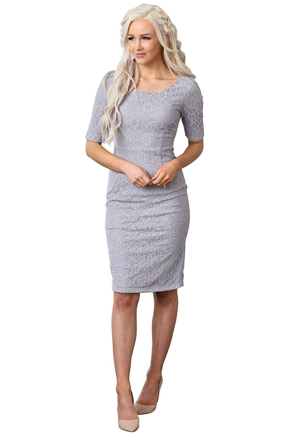 feecff3c19972 Buy Mikarose Annabelle Modest Dress in Gray Lace w/Taupe Lining in ...