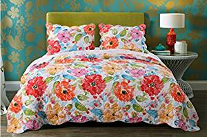 D&H 2 Piece Girls Rainbow Floral Theme Quilt Twin Set, Beautiful Girly Bright All Over Summer Flowers Bedding, Chic Pretty Vibrant Spring Flower Themed Pattern, White Red Orange Pink Blue Leaf Green