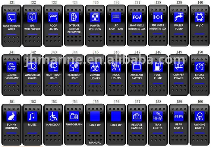 Marine Car Rv Illuminated Rocker Switch Labels Dc12 Volt With ...