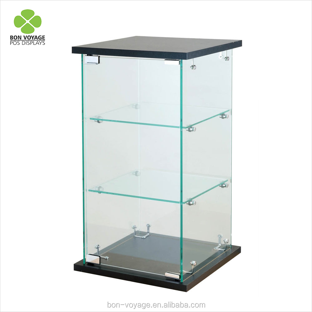 Meja Perhiasan Tampilan Case Black Tower Kaca Counter Top Showcase Perlengkapan