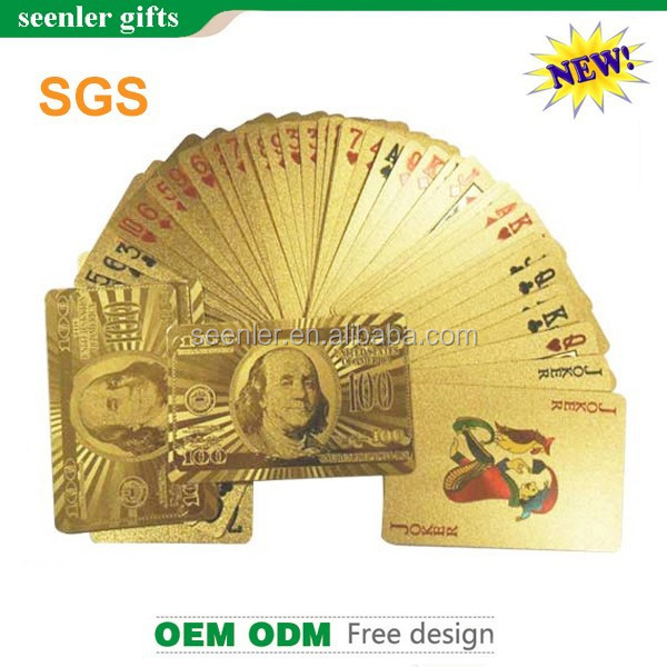 2015 new fashion good quality 24k gold foil playing cards with certificate card