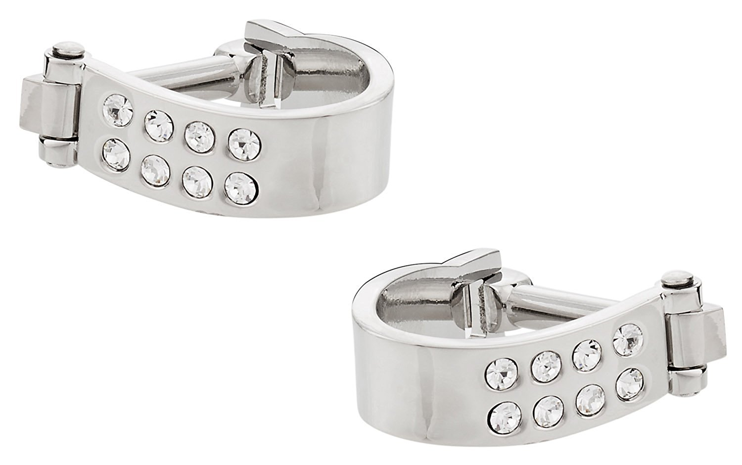 Wrap Around Cufflinks - Silver Crystal by Cuff-Daddy
