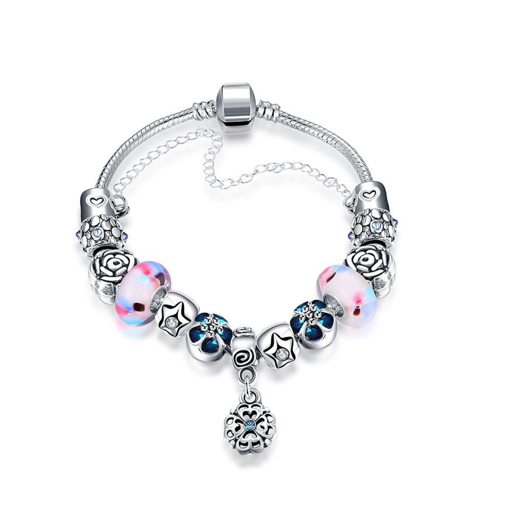08539ae1a7fc Hermosa auténtico europeo DIY cuentas de plata de ley 925 pulsera de plata  ...