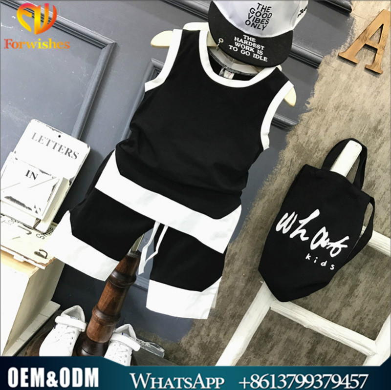 Childrens boutique clothing boys casual wear outfits summer sleeveless clothes set