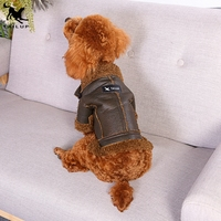 Wholesale Novelty Suede Pet Coat Dog Jacket With Fur Lining