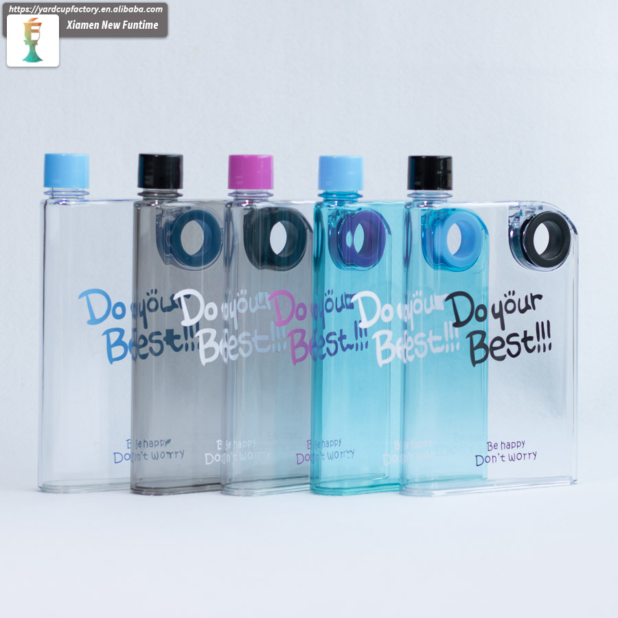 380ml BPA free rubber painted AS book shaped flat notebook a5 notebook water bottle