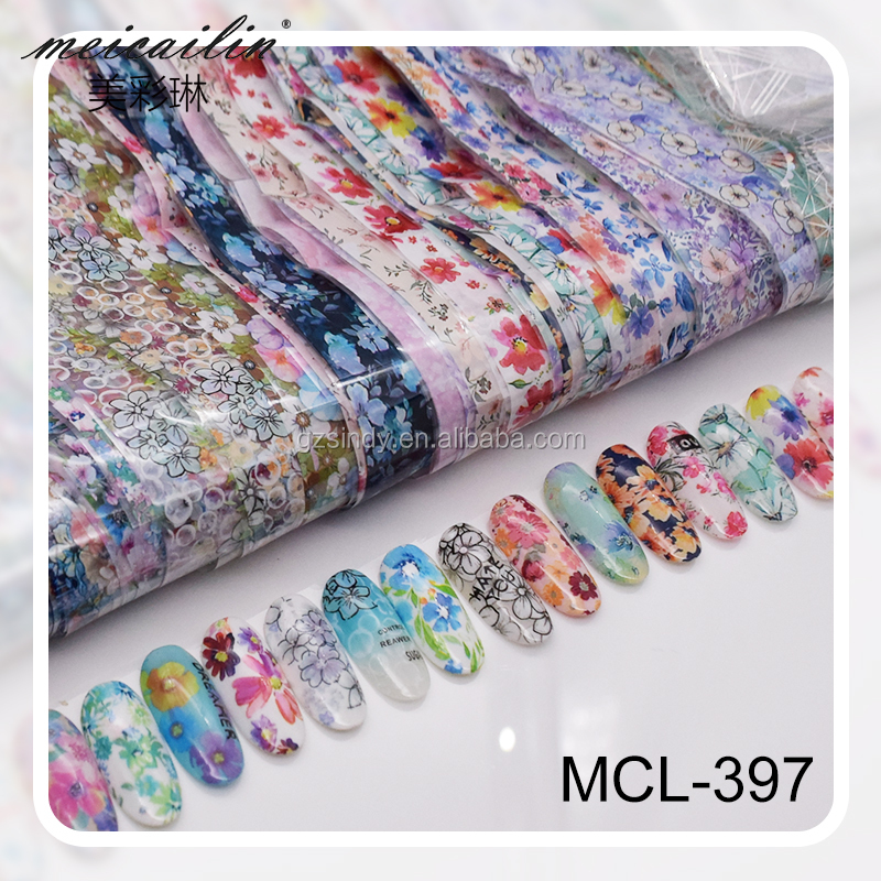 Wholesale 68 Types for choose Laser Nail Foils Gradient Starry Paper Flower Lace Sticker